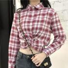 Long Sleeve Knotted Waist Plaid Shirt