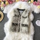 Furry Vest With Front Pocket