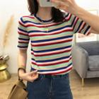 Striped Crew-neck Short-sleeve Knit Top