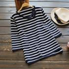 Bow Detail Striped Long-sleeve Knit Top