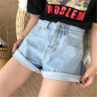 Washed Rolled Denim Shorts