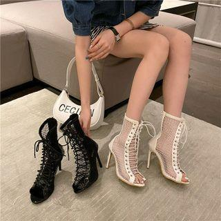 Fishnet Lace-up High-heel Short Boots