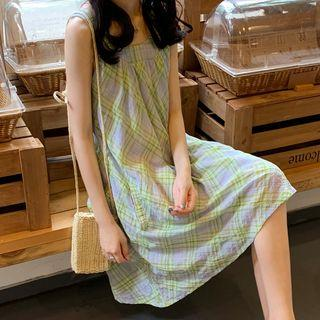 Gingham Sleeveless A-line Dress Green - One Size
