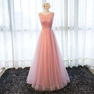Embellished Panel Tulle Evening Gown