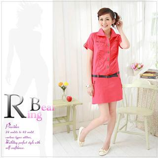 Tab-sleeve Shirtdress With Belt