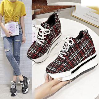 Plaid Platform Lace Up Sneakers