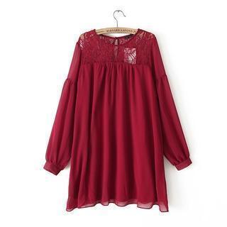 Long-sleeve Lace Panel Chiffon Dress