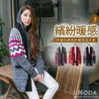 Fleece-lined Patterned Long Cardigan
