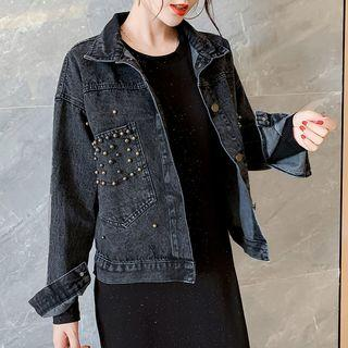 Beaded Denim Jacket / Long-sleeve Midi Dress