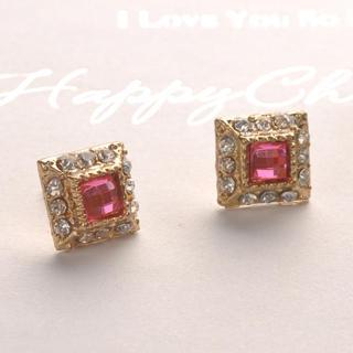 Crystal Square Earrings - Pink Pink - One Size