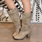 Braided Strap Buckled Tall Boots