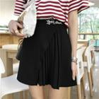 Plain Lettering Embroidered Pleated Skirt