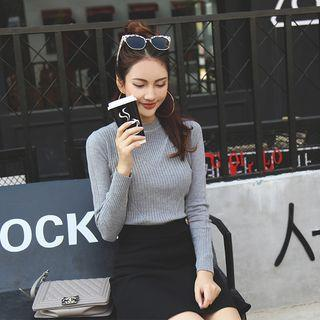 Ribbed Long-sleeve Knit Top