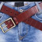 Patterned Genuine-leather Belt
