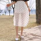Floral Crinkled Chiffon Midi Skirt