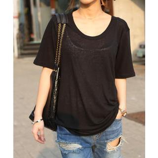 Round-neck Linen Blend T-shirt