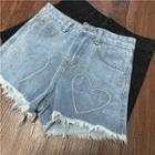 Heart Embroidered Denim Shorts / Wide Leg Denim Shorts