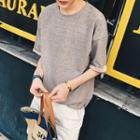 Elbow-sleeve Contrast Trim T-shirt