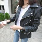 Epaulet Faux-leather Biker Jacket