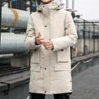 Hooded Padded Zip Long Jacket