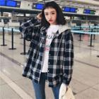 Mock Two-piece Plaid Hooded Jacket Plaid - One Size
