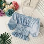Elbow-sleeve Off Shoulder Lace-up Top
