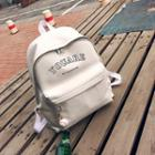 Faux-leather Lettering Backpack