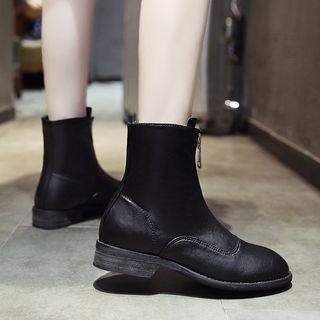 Zip-up Hidden Wedge Short Boots