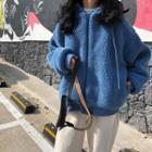 Drawstring Fleece Zip Jacket