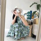 Sleeveless Patterned Ruffle-hem Dress