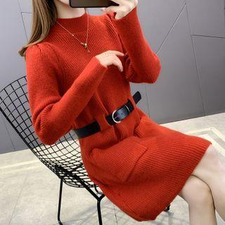Set: Long-sleeve Mock-neck Knit Midi Dress + Belt