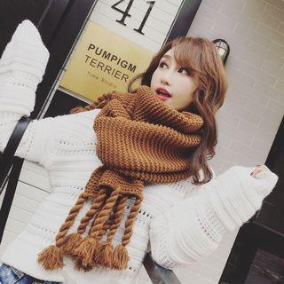 Chunky Knit Fringed Scarf