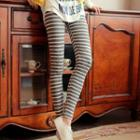 Embroidered Stripe Leggings