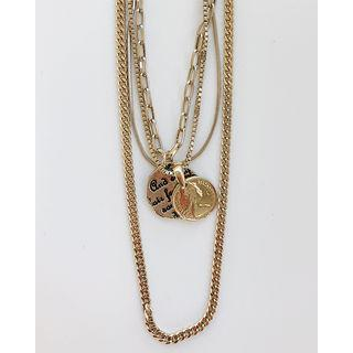 Coin-pendant Chain Necklace Set Of 4 Gold - One Size
