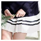 Contrast-trim Accordion-pleat Mini Skirt