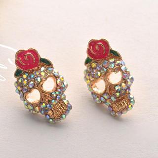 Rose Skull Earring  Pink - One Size