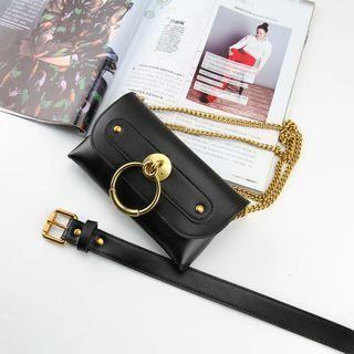 Set: Faux Leather Convertible Shoulder Chain Belt Bag + Belt