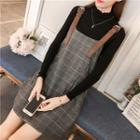 Plaid Belted Jumper Dress