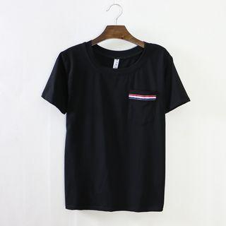 Ribbon Trim Short-sleeve T-shirt