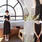 Sleeveless Polka-dot Dress Black - One Size