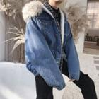Faux-fur Fleece-lined Hooded Denim Jacket