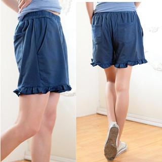 Elastic-waist Ruffled-hem Shorts