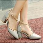 Block Heel Studded Pointy Pumps