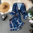 Set: Long-sleeve Floral Print Top + Shorts