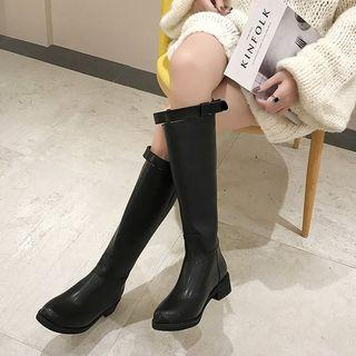 Faux Leather Chunky Heel Buckled Tall Boots