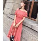 Short-sleeve Cold-shoulder A-line Dress