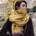Patterned Fringe Knit Scarf
