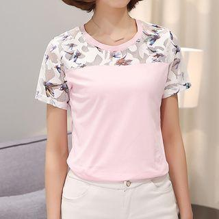 Lace Panel Short Sleeve Top