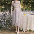 Sleeveless Embroidered Mesh A-line Midi Dress