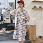 Hooded 3/4-sleeve A-line Dress